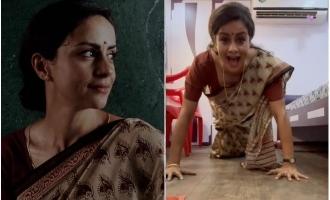 Popular actress does push-ups in saree!