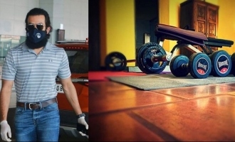 Prithviraj sets up a mini gym in his quarantine room