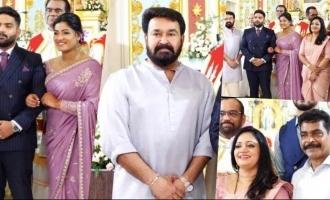 Pics of Mohanlal attending Antony Perumbavoor's daughter's engagement go viral