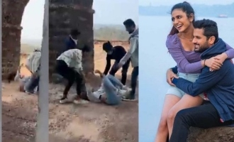 Watch: Priya Varrier slips and falls on ground while filming a romantic scene