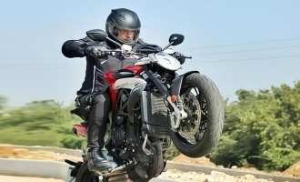 Ajith's mass bike stunt photo from Valimai turns viral!