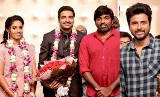 Actor Sathish-Sindhu wedding reception graced by SK, VJS and other celebs