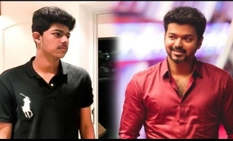Thalapathy Vijay disturbing Jason Sanjay awesome fun photo goes viral